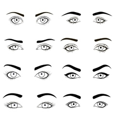 Set of female eyes and brows black image vector