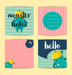 square note cards with cute cartoon vector image vector image
