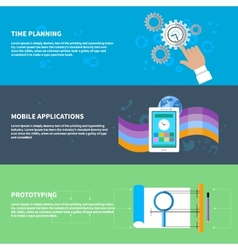 Time planning mobile app prototyping concept set vector