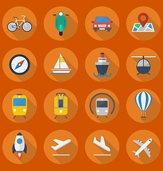 Transportation Flat Icon Set vector image vector image