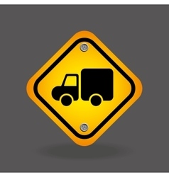 Truck yellow road street sign vector