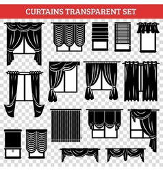 Windows black silhouettes with curtains and vector