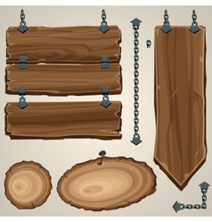 Wooden boards with chain vector image vector image