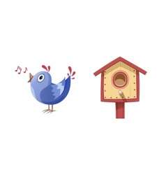 Bird sing song and nesting box vector image