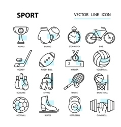 Set modern thin line web icons on sports themes vector