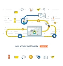 Social network and teamwork concept management vector