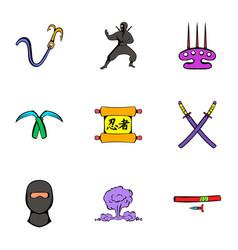 ninja art icons set cartoon style vector image