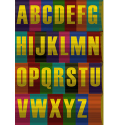 Unusual yellow striped alphabet vector