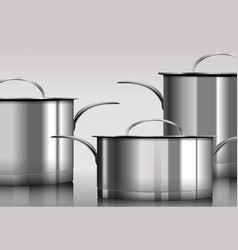 Stainless steel metal cooking pans vector