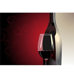 Glass of red wine with a bottle vector