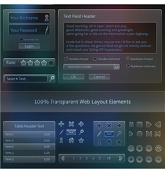 Transparent web design fields templates vector
