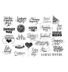 Big bundle of 25 hand drawn summer quotes vector