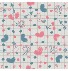 Seamless with painted hearts on a sheet of vector