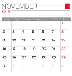 2015 November calendar page vector image vector image