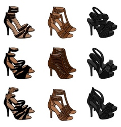 Highheeled sandals vector
