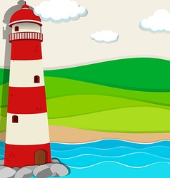 Lighthouse in the ocean vector