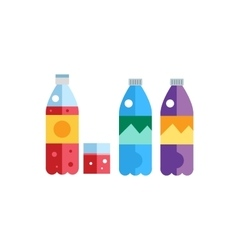 Water soda and juice or tea bottles vector