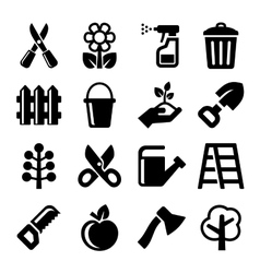 Gardening Icons Set on White Background vector image
