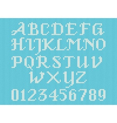 White knitted alphabet and figures vector