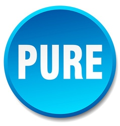 Pure blue round flat isolated push button vector