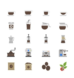 Coffee and drink flat color icons vector