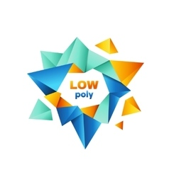 Colorful polygonal crystal logo design vector
