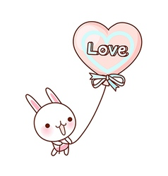 A rabbit is holding a balloon vector image vector image