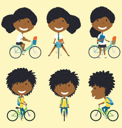 african american school girls on the bikes vector image vector image