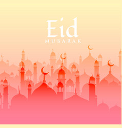 Beautiful eid festival background with mosque vector