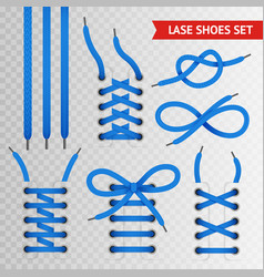 Blue lace shoes icon set vector