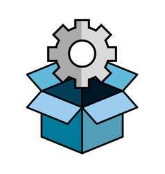 Box and gear wheel icon vector