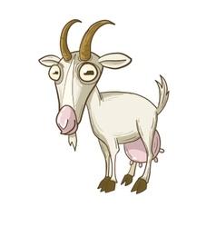 Cartoony horned nanny-goat vector