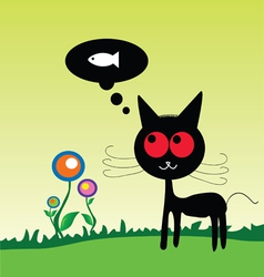 Cat dreem fish on the meadow vector