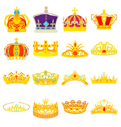 Crown royal icons set cartoon style vector