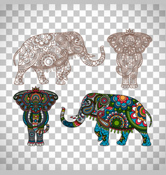decorated elephant on transparent background vector image