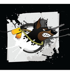 Doberman grunge styled print vector image vector image