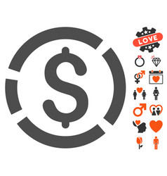 dollar diagram icon with valentine bonus vector image vector image