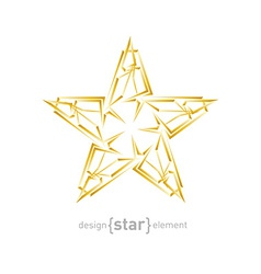 Futuristic gold abstract star on white background vector