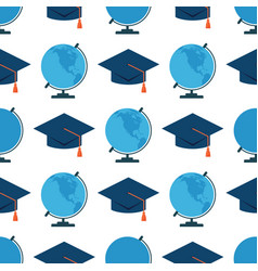 globe earth geography graduation hat seamless vector image vector image