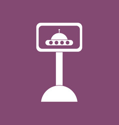 Icon flying saucer on monitor vector