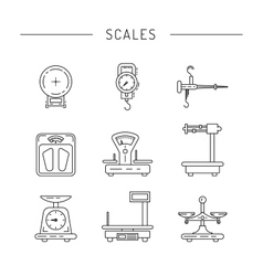 Linear icons of scales vector image