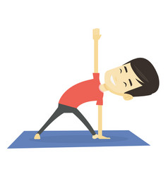 Man practicing yoga triangle pose vector