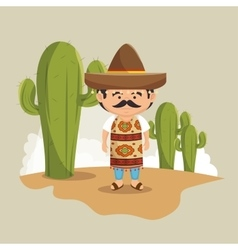 Mexican man hat traditional dress design vector