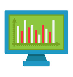 Monitor chart flat icon business and graph vector