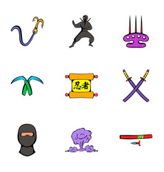 Ninja art icons set cartoon style vector