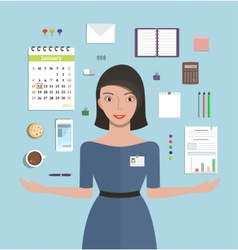 Office Manager Woman Working and Supplies Objects vector image vector image