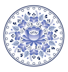Russian folk art pattern - gzhel ceramics style vector