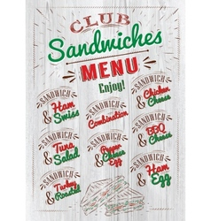 Sandwiches menu wood vector image vector image