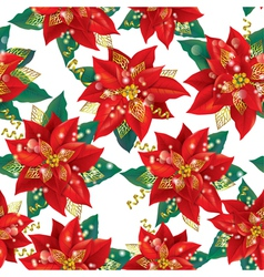 Seamless pattern of Christmas Poinsettia with vector image