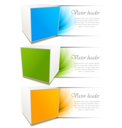 set of banners with cube vector image